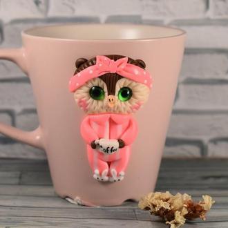 Чашка сова, кружка сова, чашка из полимерной глины, кружка