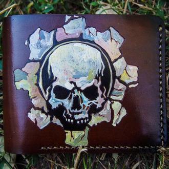 Мужской бумажник, мужское портмоне с рисунком, кошелёк с черепом, портмоне с черепом
