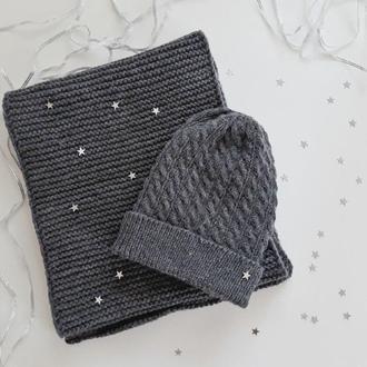 Комплект из 100% шерсти  снуд | шарф | шапка