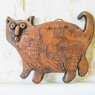 """Плакетка на стіну Кіт на прогулянці """"Андріївський узвіз"""""""