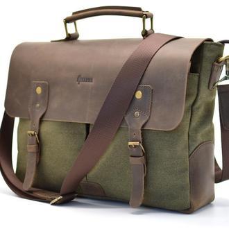 Мужская сумка-порфтель из канвас с кожаным клапаном 3960 бренда TARWA
