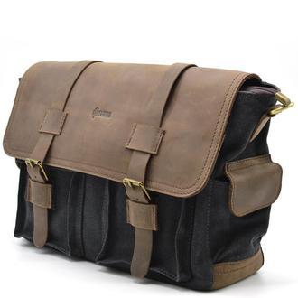 Мужская сумка через плечо парусина+кожа Tarwa 6690