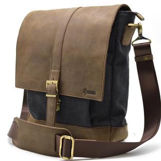 Мужская сумка через плечо парусина+кожа TARWA 1811