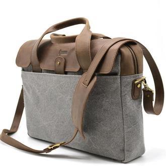 Офисная сумка в комбинации кожи и ткани RGj-1812-4lx от TARWA
