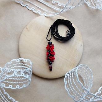 Красно черный кулон с цветами, кулон с цветами, цветочное украшение, подарок девушке