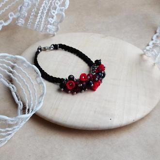 Красно черный браслет с цветами, цветочное украшение, украшение на руку, подарок девушке