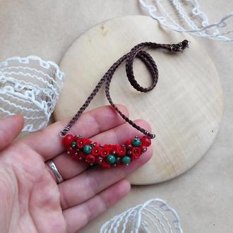 Красно зеленая подвеска, цветочное украшение, украшение на шею, подарок девушке
