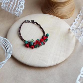 Красно зеленый браслет с цветами, цветочное украшение, украшение на руку, подарок девушке