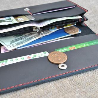 Черный кошелек с контрастной нитью K75-0+red