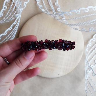 Бордовая заколка с цветами, цветочное украшение для волос, подарок девушке, заколка 8