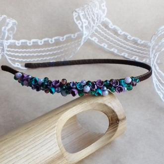Фиолетово бирюзовый обруч с цветами, обруч для волос, цветы, подарок девушке