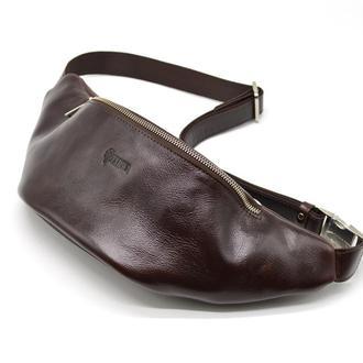 Брендовая напоясная сумка TARWA GX-3036-4lx из натуральной глянцевой кожи