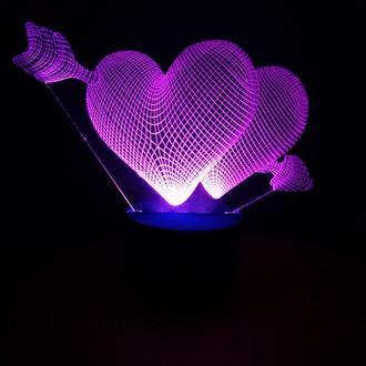 Сердца со стрелой, 3d акриловый светильник ночник, романтический подарок девушке женщине