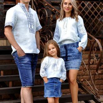 Семейный комплект рубашек из тонкого льна с одинаковой вышивкой
