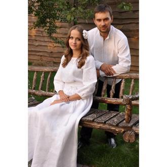 """Комплект - мужская вышиванка и женское платье с вышивкой в технике """"белым по белому"""""""