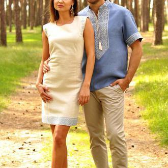 Чоловіча сорочка з коротким рукавом і жіноче плаття з лаконічною вишивкою