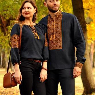 Эффектная мужская и женская вышиванка блузка с вышивкой благородного синего оттенка