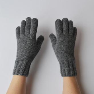 Женские перчатки из мериноса и кашемира. Теплые серые перчатки размера XS/S