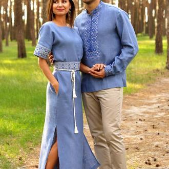 Вышитый комплект - мужская рубашка и женское платье цвета денима