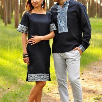 Эффектный комплект - мужская рубашка и женское платье из синего льна, с выразительной вышивкой