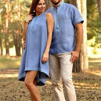 Стильна чоловіча сорочка з коротким рукавом і жіноча вишита сукня оригінального крою