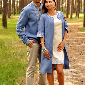 Вишиванка чоловіча і жіночє літне пальто та сукня з вишивкою
