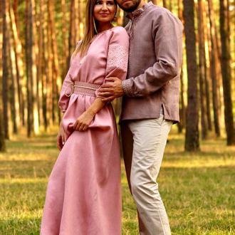 Романтичний комплект - чоловіча сорочка з вишивкою і жіноче довге плаття з вишитим поясом