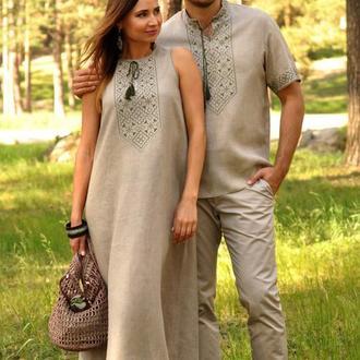 Комплект з натурального льону - чоловіча сорочка з коротким рукавом і жіноча довга сукня
