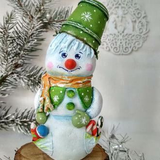 """Елочная игрушка """"Снеговичок Ведёркин"""""""