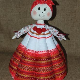 Народная баба-грелка СОЛОХА для заварника, авторская кукла на чайник