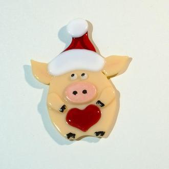 Свинка. Сувенир. Год свиньи. Стекло, фьюзинг.