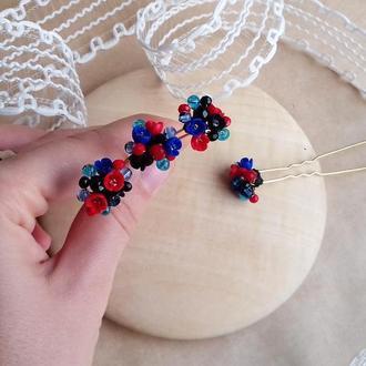 Красно синие шпильки, шпильки для волос, шпильки с цветами, подарок девушке