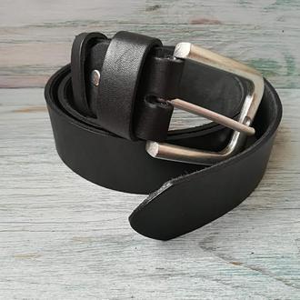 Мужской черный кожаный ремень (шириной 3,8 см)
