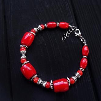 Браслет з великими натуральними коралами браслет коралловый браслет красный кораллы