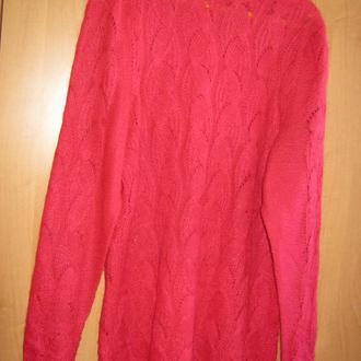 Свитер ажурной вязки красного цвета, р. 50-54, пряжа (пушистый акрил+ шерсть)
