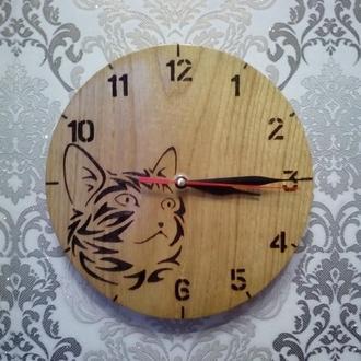 """Деревянные настенные часы """"Кот"""""""