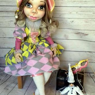 Коломбина-текстильная шарнирная интерьерная кукла