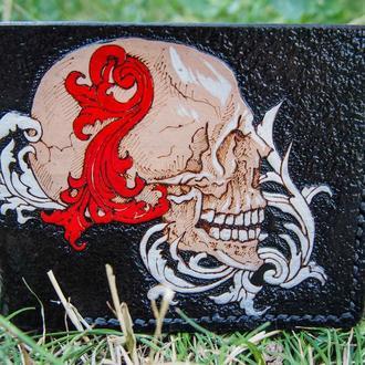 Кожаный бумажник, чёрное портмоне с черепом, кошелёк с черепом