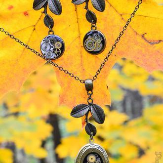 Набор украшений Листья в стиле steampunk (вариант бронза)