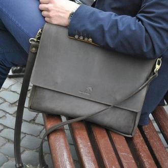 Мужская сумка messenger из натуральной кожи Crazy horse. Натуральная кожа
