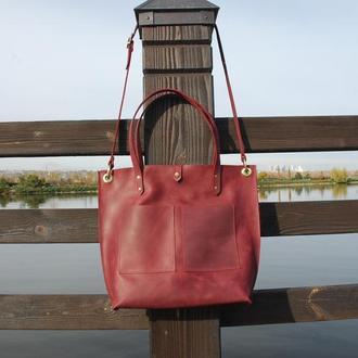 Бордовая женская кожаная сумка с21 (10 цветов)