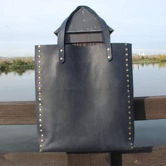 Женская сумка на заклёпках (10 цветов), кожаная сумка для женщин, женская сумка из кожи.