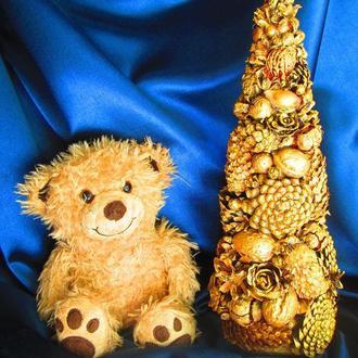 Золотая новогодняя (рождественская) елочка из экологических природных материалов