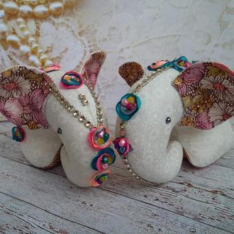 Слоники Влюбленная пара текстильные игрушки