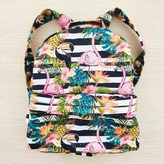 Рюкзак водонепроницаемый «Полосочки и фламинго»