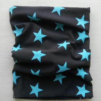 Шеегрелка «Крупные голубые звезды на темно синем» с трикотажным подкроем