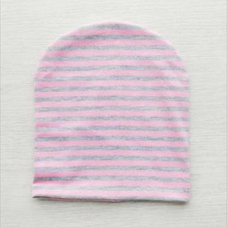Комплект флис шапка и шеегрелка  «Серо-розовая полосочка»  50 р.