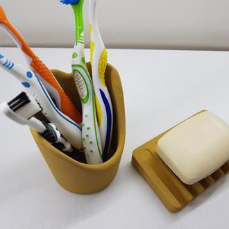 Набор для ванной – мыльница и стакан из бетона - желтый