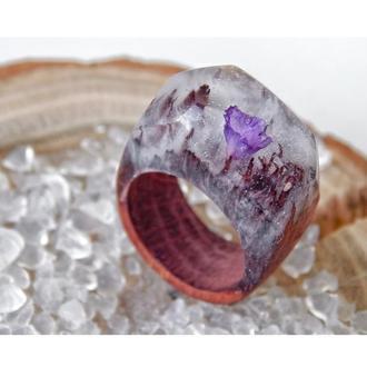 Кольцо с живым цветком, кольцо из дерева и эпоксидной смолы, подарок для женщин, для девушки