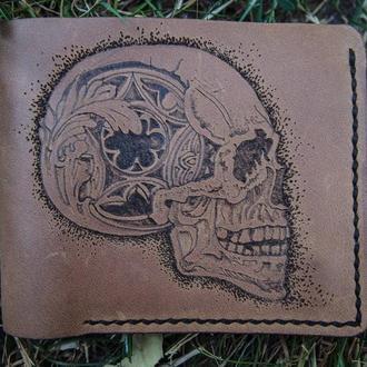 Кожаное портмоне, бумажник с черепом, череп на кошельке